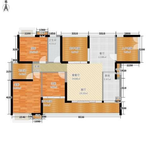 公园一号3室1厅2卫1厨130.29㎡户型图