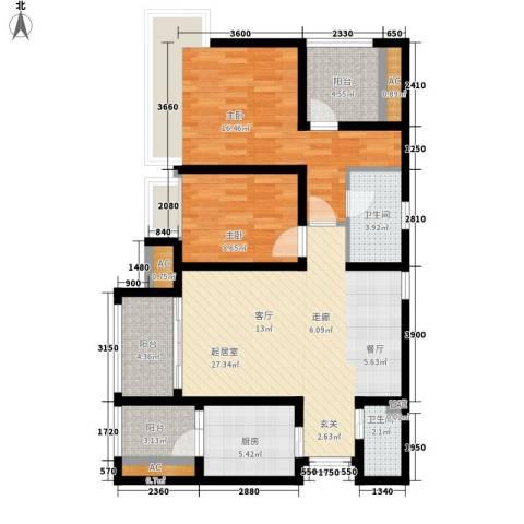 龙湖悠山香庭2室0厅2卫1厨80.00㎡户型图