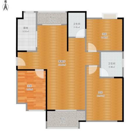 祥源城3室1厅2卫1厨116.00㎡户型图