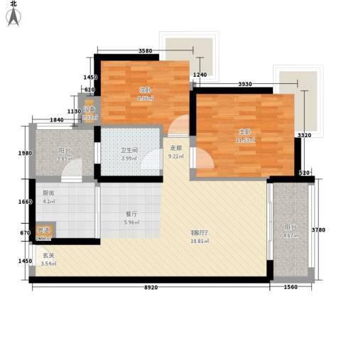 里维埃拉2室1厅1卫1厨93.00㎡户型图