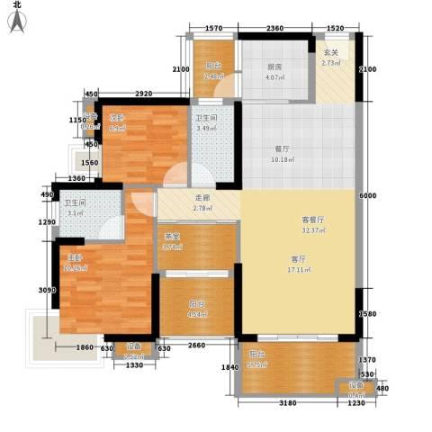公园一号2室1厅2卫1厨90.28㎡户型图