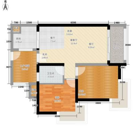 里维埃拉2室1厅1卫1厨86.00㎡户型图