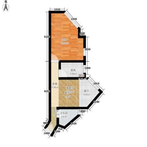 郡都彩舍1室1厅1卫1厨52.00㎡户型图