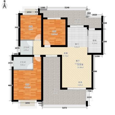 龙湖悠山香庭3室0厅2卫1厨110.57㎡户型图