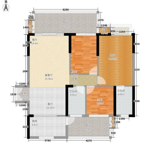 公园一号3室1厅2卫1厨116.38㎡户型图