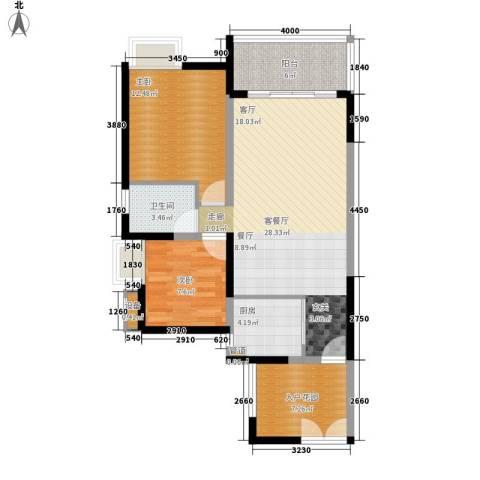 公园一号2室1厅1卫1厨80.24㎡户型图