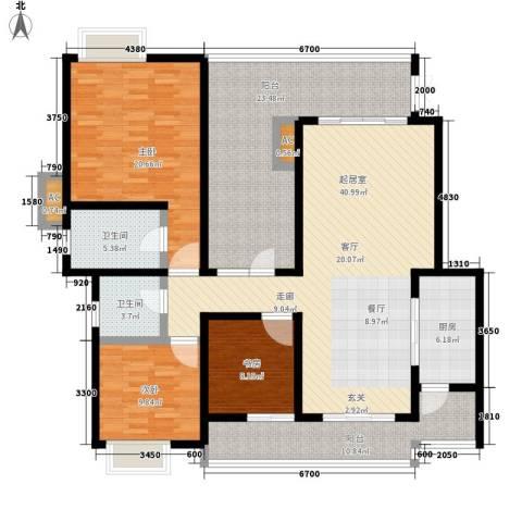 龙湖悠山香庭3室0厅2卫1厨130.56㎡户型图