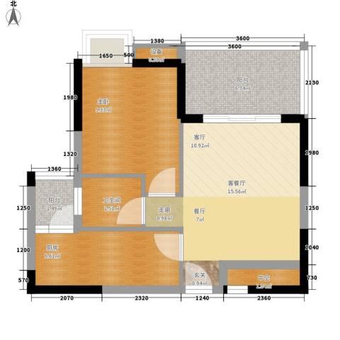 公园一号1室1厅1卫1厨50.98㎡户型图