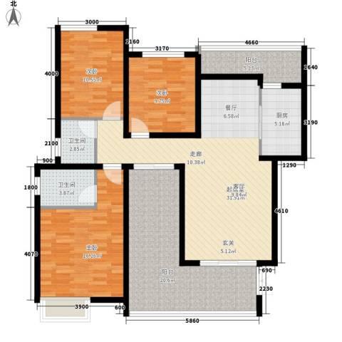 龙湖悠山香庭3室0厅2卫1厨106.09㎡户型图