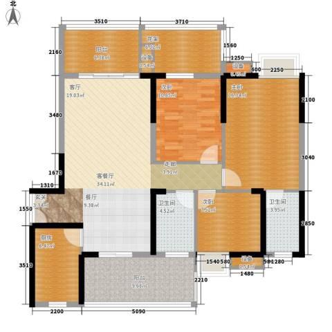 公园一号3室1厅2卫1厨122.73㎡户型图