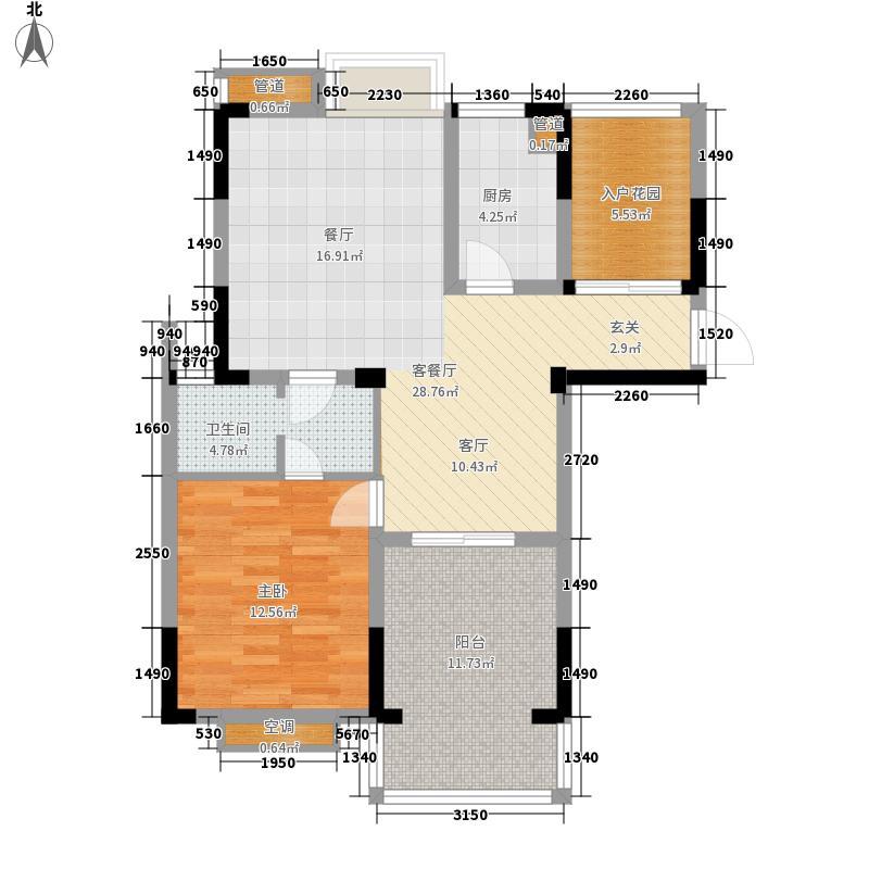 紫园86.16㎡高层8号楼3、4单元1室户型