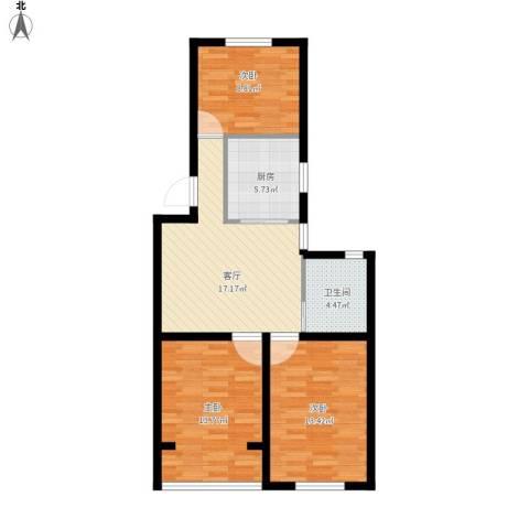 春港丽园3室1厅1卫1厨90.00㎡户型图