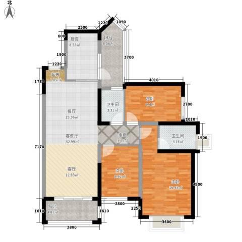 雅居乐云南原乡3室1厅2卫1厨113.00㎡户型图