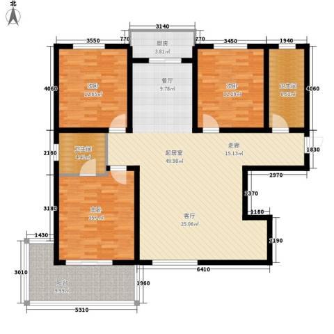 月亮湾3室0厅2卫1厨130.00㎡户型图