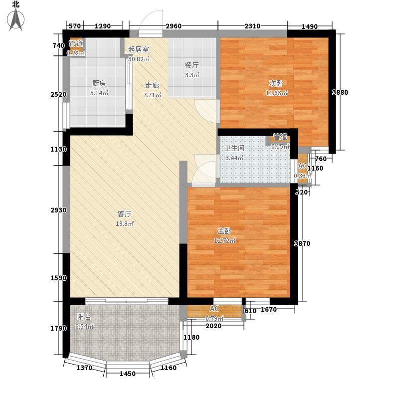 碧桂园十里银滩77.35㎡2号楼标准层B1户型