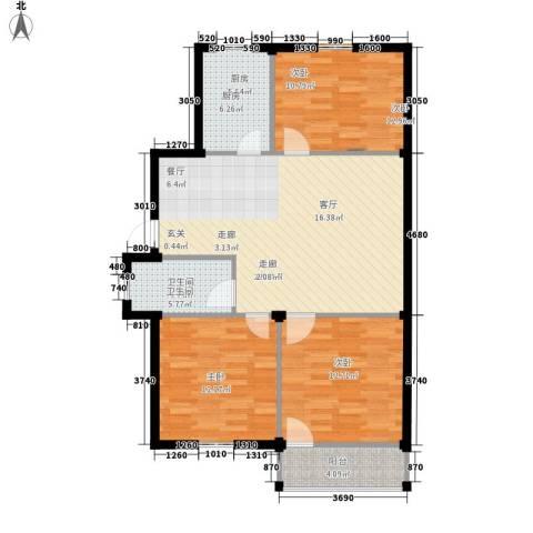 西肖堡场3室1厅1卫1厨86.00㎡户型图