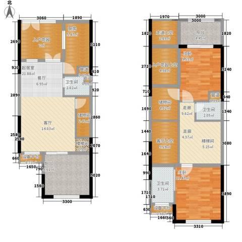 复地新城就2室0厅3卫1厨107.05㎡户型图