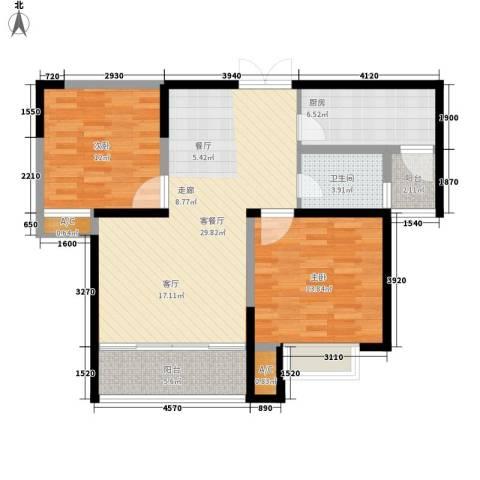澄波湖壹号2室1厅1卫1厨87.00㎡户型图