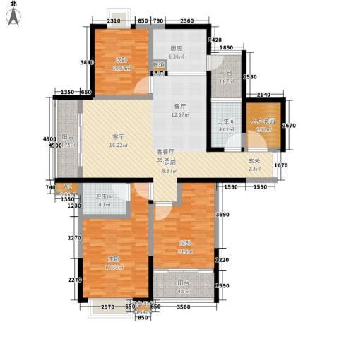 澄波湖壹号3室1厅2卫1厨133.00㎡户型图