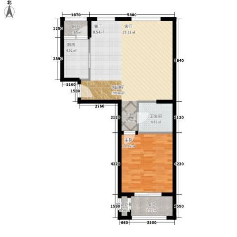 伴山蓝庭1室1厅1卫1厨72.00㎡户型图