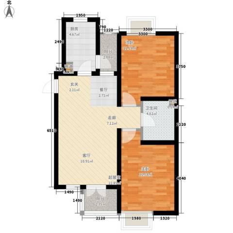 长瀛御龙湾2室0厅1卫1厨87.00㎡户型图