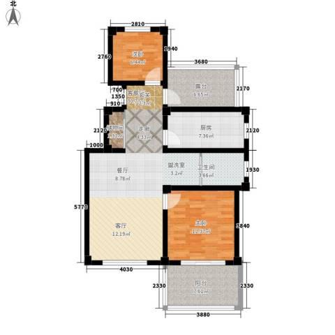 伴山蓝庭2室1厅1卫1厨88.00㎡户型图