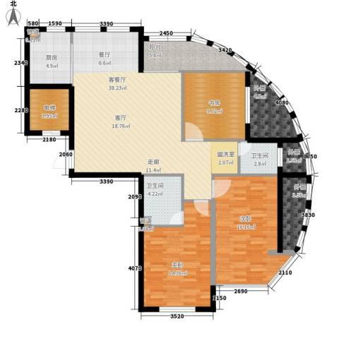 启明星座3室1厅2卫1厨125.00㎡户型图