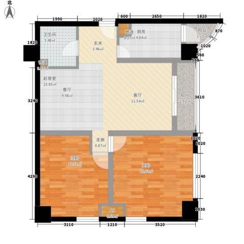 珠江彩世界2室0厅1卫1厨70.00㎡户型图