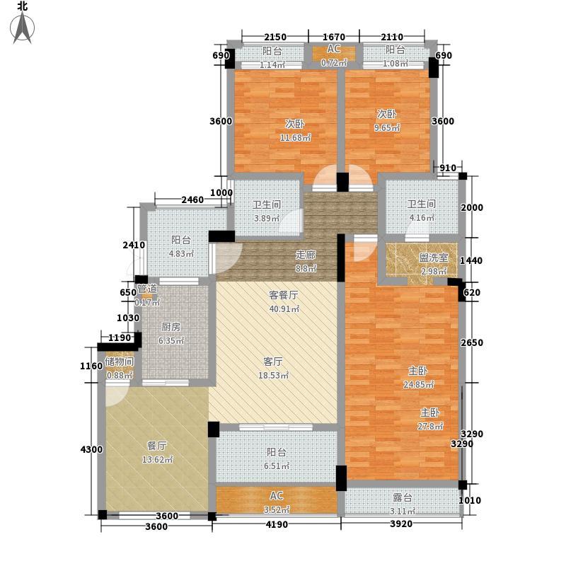 保利山庄129.33㎡二期洋房1号楼标准层6号房6-8层户型