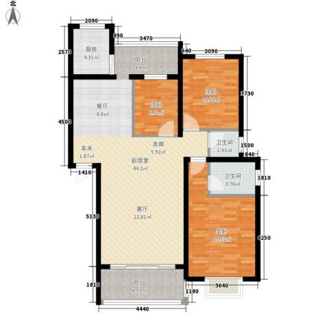 朝阳嘉苑3室0厅2卫1厨132.00㎡户型图