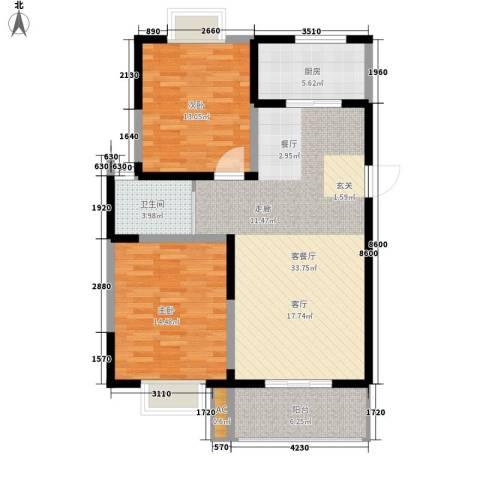 怡水花园2室1厅1卫1厨88.00㎡户型图