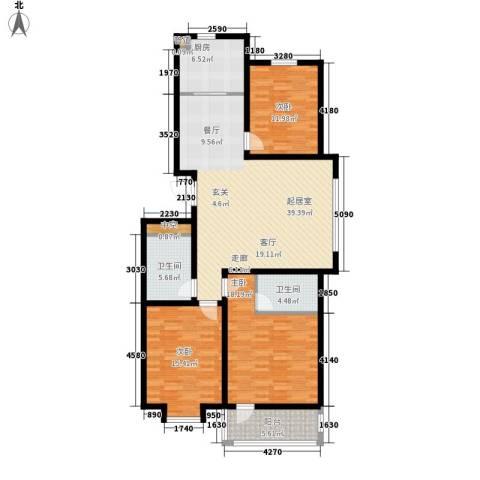 海源丽轩3室0厅2卫1厨122.00㎡户型图