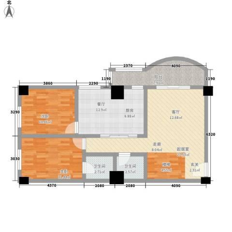 大欣圆梦园2室1厅2卫0厨75.92㎡户型图