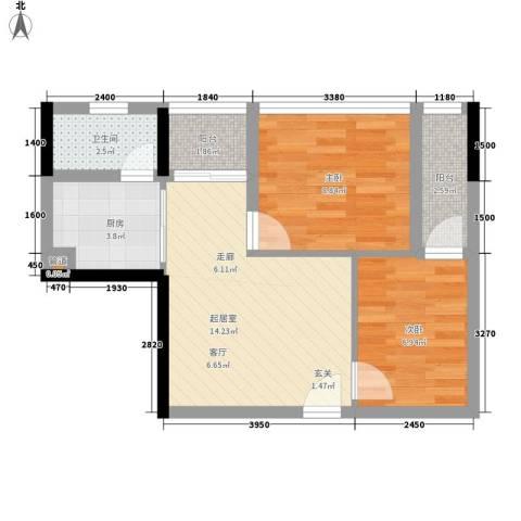金茂精英现代城2室0厅1卫1厨60.00㎡户型图