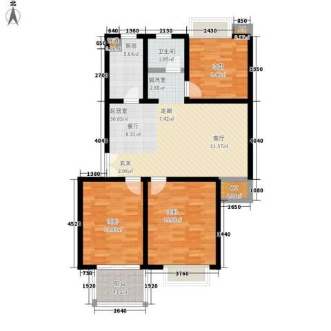 柠檬华苑3室0厅1卫1厨118.00㎡户型图