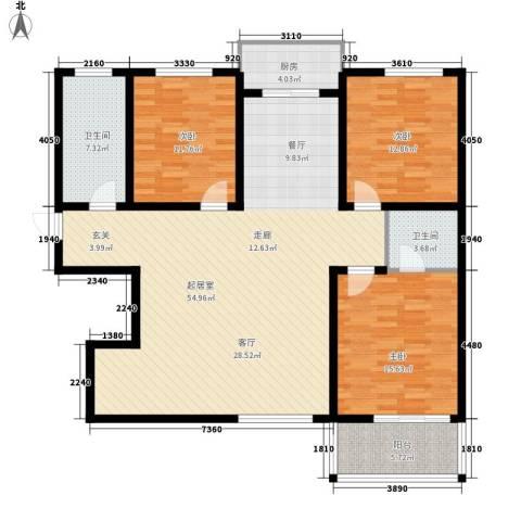 月亮湾3室0厅2卫1厨131.00㎡户型图