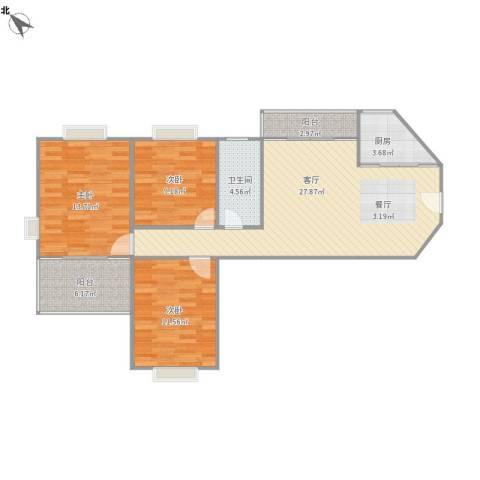 百家湖花园伦敦城3室1厅1卫1厨108.00㎡户型图