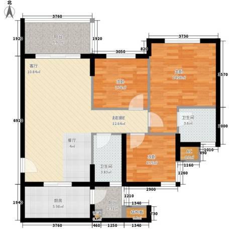 祈福聚龙堡3室0厅2卫1厨89.00㎡户型图