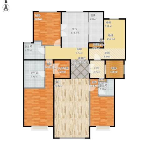 北京城建·世华龙樾3室1厅3卫1厨204.00㎡户型图