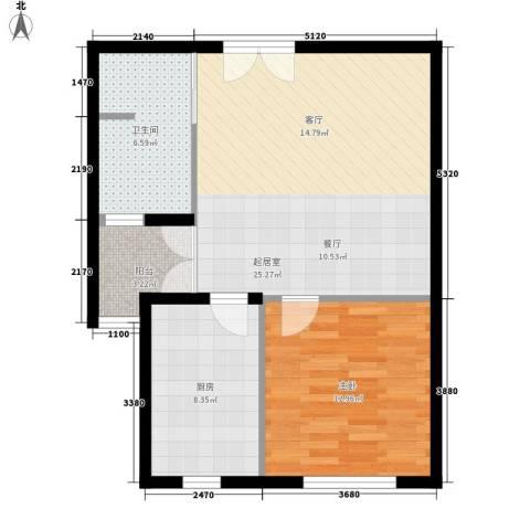 尼盛西城1室0厅1卫1厨63.00㎡户型图