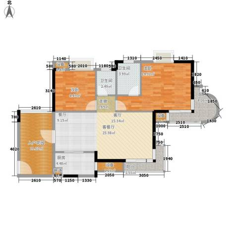 御河观景台2室1厅2卫1厨91.00㎡户型图