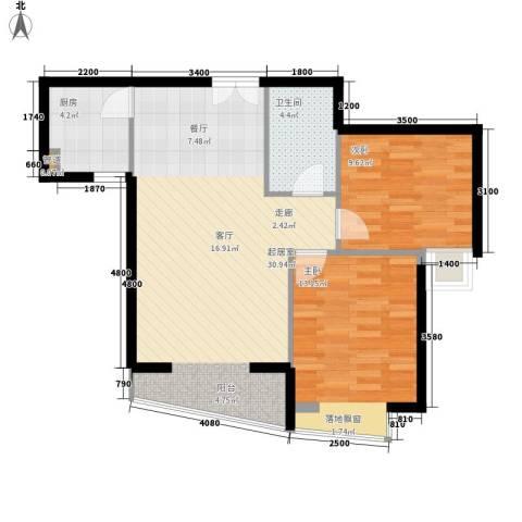 利君明天2室0厅1卫1厨87.00㎡户型图