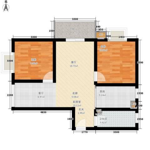 中天花园2室0厅1卫1厨85.00㎡户型图
