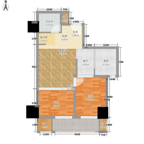 尚书房2室1厅1卫1厨70.00㎡户型图