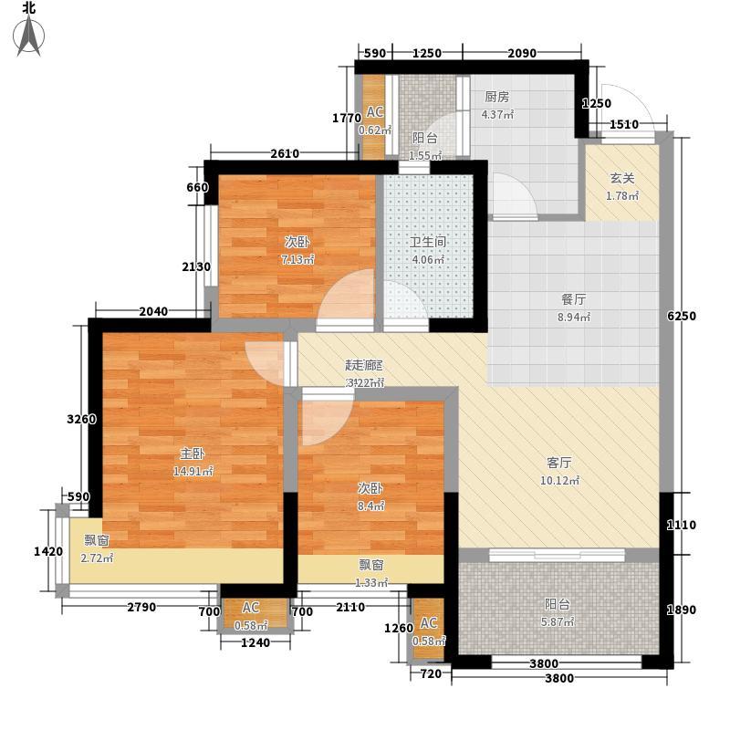 东原西岸86.78㎡二期7号楼标准层C3A户型