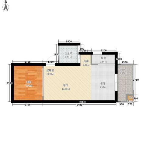 中天花园1室0厅1卫1厨52.00㎡户型图