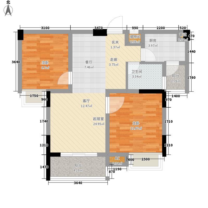 融汇半岛65.72㎡28号楼C(二面积6572m户型