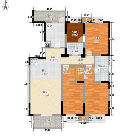天江格调兰庭4室0厅2卫1厨155.00㎡户型图