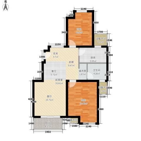 保利西塘越2室0厅1卫1厨88.00㎡户型图