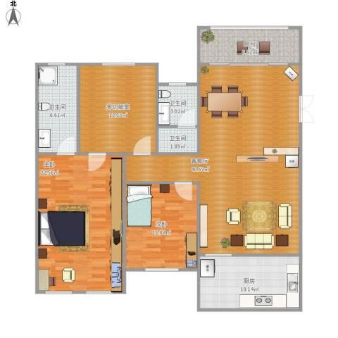 天翼未来城2室1厅3卫1厨124.38㎡户型图